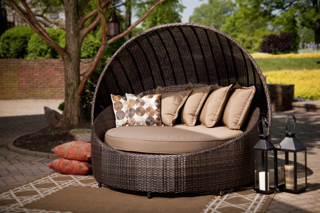 modern patio round bed turns simple outdoor space into
